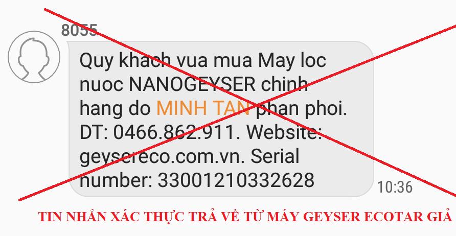 TIN NHAN XAC THUC MY GEYSER ECOTAR GIA