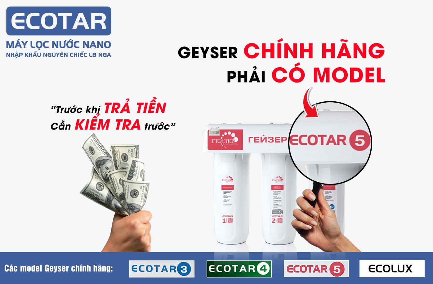 Xác minh máy Geyser Ecotar 5 chính hãng